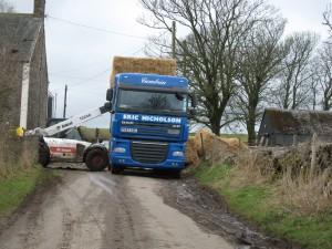 Hay Lorry blocks the lane.