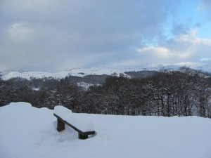 Snowy Ambleside Bench